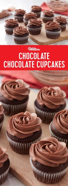 Chocolate Chocolate Cupcakes - The chocolate's so nice we said it twice! Our Chocolate-Chocolate Cupcakes have a double shot of that decadent chocolate flavor. Click to see the recipe! Makes 24 cupcakes. Best Chocolate Cupcakes, Decadent Chocolate, Chocolate Flavors, Chocolate Chocolate, Chocolate Recipes, Baking Recipes Cupcakes, Dessert Recipes, Refreshing Desserts, Vegetarian Chocolate