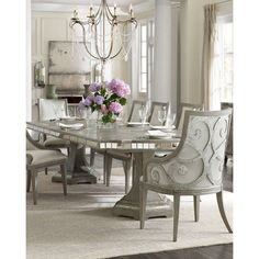 Hooker Furniture Juliet Rectangular Dining Table (£3,400) ❤ liked on Polyvore featuring home, furniture, tables, dining tables, gray metallic, grey dining table, handmade dining tables, expandable dining table, butterfly leaf dining table and rectangle kitchen table
