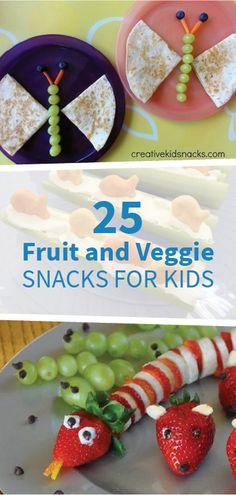 With recipes like strawberry snakes, butterfly quesadillas, and more, these 25 fruit- and veggie-filled snacks for kids are perfect for any day of the week. The kiddos will love jumping in the kitchen to help you prepare each creative recipe, so try a few Lunch Snacks, Veggie Snacks, Cute Snacks, Healthy Snacks For Kids, Fruit Snacks, Kid Snacks, Kids Birthday Snacks, Kreative Snacks, Picky Eaters Kids