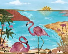 Flamingo Art print 8x10 Pressed Flower Art Oshibana Mixed Media Landscape Archival High Quality Print Woodland
