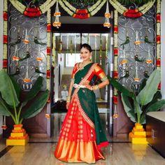 Silk half Sari worn by South Indian girls Half Saree Lehenga, Lehenga Gown, Bridal Lehenga, Saree Wedding, Wedding Bride, Wedding Decor, Wedding Stage, Anarkali, Half Saree Designs