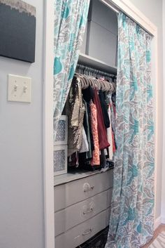 Curtains instead of sliding doors on closet - love! Michelle's Sweet and Eclectic Studio