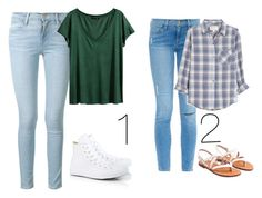 """""""Witch cute simple aloft do you like."""" by fashionlover4562 ❤ liked on Polyvore featuring Frame Denim, H&M, Converse and Current/Elliott"""