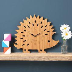 hedgehog personalised childrens clock by owl & otter   notonthehighstreet.com