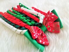 Your place to buy and sell all things handmade Christmas Hair Bows, Christmas Colors, Ribbon Hair Bows, Girl Hair Bows, Bow Accessories, Hair Accessories For Women, Christmas Cakes Pictures, Emma Wiggle, Dance Hairstyles