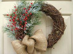 Door Wreath with Pine, Red Berries, Pinecones and Burlap - Christmas Wreath - Winter Wreath - Christmas Decoration - Rustic Holiday Wreath