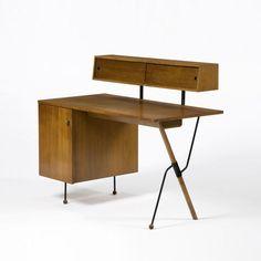 Greta Magnusson Grossman; Walnut, Enameled Metal and Brass Desk for Glenn of California, c1952.