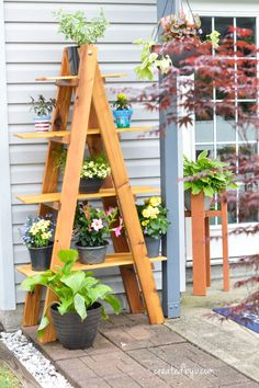 See how to build this A-frame folding plant stand out of western red cedar to beautifully display an outdoor plant collection!
