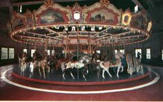Holyoke Merry Go Round at its old location, Mountain Park.  You can see the coloring of the horses is quite different than today.