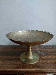 Vintage brass ornate pedestal Dish by LeBrunDesignsInc on Etsy