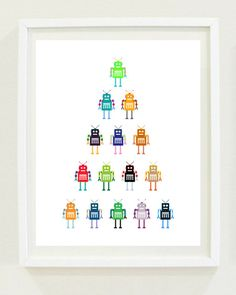 Nursery Print: Robots - Boys Room - Kids Decor - Modern Nursery - Digital