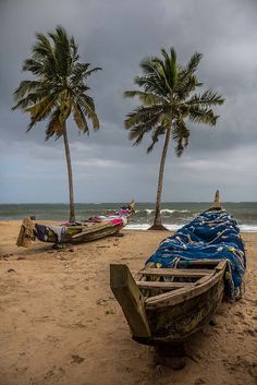 Fishing boats on the beach, a village on the coast of Ghana by anthony pappone photographer, via Flickr
