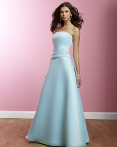 Two-piece Strapless A-line Satin Bridesmaid Dresses
