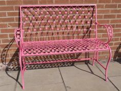 Pink Wrought Iron Garden Bench Seat - for outside le shed peut etre. Garden Furniture, Outdoor Furniture, Outdoor Decor, Chair Bench, Bench Seat, Pink Home Decor, Pink Garden, Wrought Iron, Favorite Color