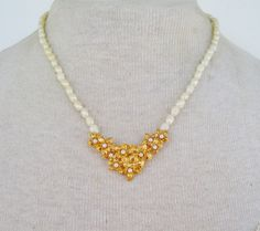 Vintage 1988 Signed Avon Golden Bouquet Faux Pearl Gold Tone Flower Traditional Cottage Chic Princess Length Bib Necklace Original Box NIB by ThePaisleyUnicorn on Etsy