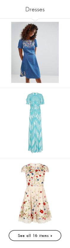 """Dresses"" by junoblu ❤ liked on Polyvore featuring dresses, blue, embroidered dress, embroidered denim dress, fit flare dress, flower embroidered dress, skater dresses, gowns, velvet evening gown and blue ball gown"