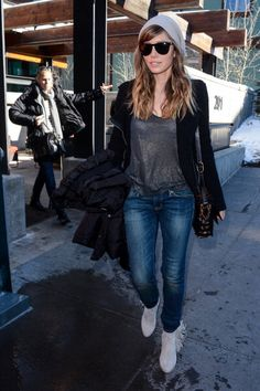 Jessica Biel Jet Black Shades - adding a little badass edge to your casual daywear (note: her vintage-inspired denim is also a top trend fro...