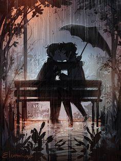 "elentori-art:  ""I miss the rain ☆  """