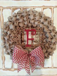 Burlap Wreath, Bubble Burlap, Initial, Door Decor, Monogram Wreath, Birthday Gift, Wedding, All Seasons Wreath, Door Hanger