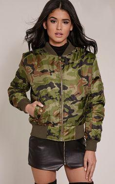 Alexus Green Camouflage Bomber Jacket - Coats & Jackets - PrettylittleThing | PrettyLittleThing.com