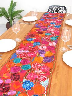 High Quality An Extraordinarily Beautiful Embroidered Table Runner From Chiapas. Silky  Flowers Embroidered Onto Orange Telar. Mexican StyleMexican ...
