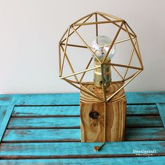Reclaimed Wood Lamp with Himmeli Shade! (wire, coffee stirrer straws, wood block, light kit)