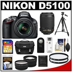 Nikon D5100 Digital SLR Camera & 18-55mm G VR DX AF-S Zoom Lens with 55-200mm VR Lens + 32GB Card + .45x Wide Angle & 2.5x Telephoto Lenses + Remote + (2) Filters + Tripod + Accessory Kit by Nikon. $829.95. Kit includes:♦ 1) Nikon D5100 Digital SLR Camera & 18-55mm G VR DX AF-S Zoom Lens♦ 2) Nikon 55-200mm f/4-5.6G VR DX AF-S ED Zoom-Nikkor Lens   ♦ 3) Transcend 32GB SecureDigital Class 10 (SDHC) Ultra-High-Speed Card ♦ 4) PD 2.5x Telephoto & .45x Wide-Angle...