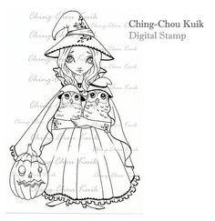 Hallo' Owlie Digital Stamp Instant Download / Halloween by gjzcck