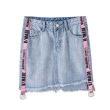 2017 new Summer skirt Women's short package hip skirt Ribbon splicing Oblique edge irregular Letter half body denim skirt(China)