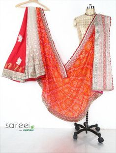 Orange and Off White Georgette Saree with Lace and Stone Work