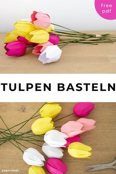 Make paper flowers: simple tulips (with template)- Papier Blumen basteln: Einfache Tulpen (mit Vorlage) Simple flowers made of paper with children. How To Make Paper Flowers, Large Paper Flowers, Tissue Paper Flowers, Paper Flower Wall, Paper Flower Backdrop, Origami Flowers, Paper Sunflowers, Paper Peonies, Paper Roses