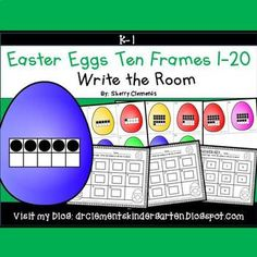 Easter Egg Write the Room (Ten Frames 1-20) This resource includes four pages of numbered cards in color with a total of 20 cards. Each numbered card has an Easter egg with a ten frame(s) filled in with black dots to represent each number 1-20. Teachers should copy the cards on cardstock (for durability and saving for future years) or plain paper, laminate (if desired), cut apart, and then post the cards around the room.