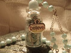 HANDMADE Vial necklace with blue glass beads and by PiXiesBeads, $10.00