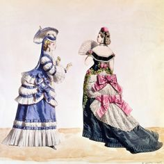 """2. """"Fashion Designs for Women,"""" Transition from 1860s to 1870s - Dresses swagged to create bustle, parasols, fans"""