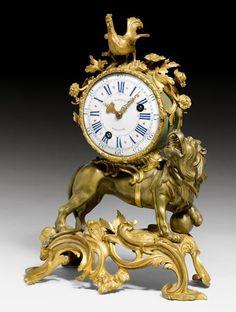 "c1745 MANTEL CLOCK ""AU LION RUGISSANT"", Louis XV, the dial and movement signed J. BAPTISTE BAILLON (Jean Baptiste Baillon, maître 1727) and numbered 3872, Paris"