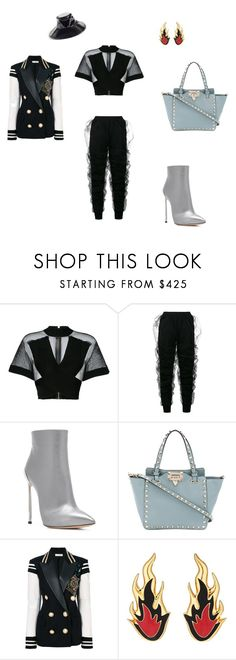 """драма"" by sorokina-d on Polyvore featuring Balmain, Y/Project, Casadei, Valentino, Faith Connexion, AMBUSH and Eric Javits"