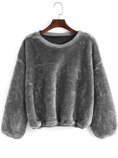 2710ef1ce Grey+Round+Neck+Loose+Crop+Sweatshirt+23.03 Grey Sweatshirt