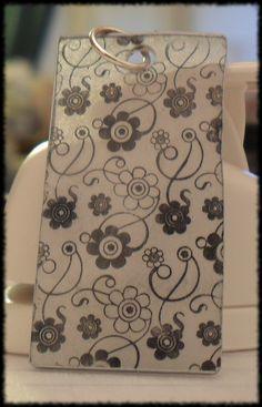 Shrinky Dink stamped pendant  #ecrafty @ecrafty #shrinkydinks  #shrinkjewelry #shrinkcharms