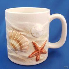 Otagiri Coffee Mug Embossed Sea Shells Starfish Sand Dollar Scallop 12 oz Cup #Otagiri