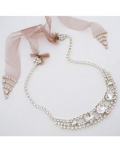 Erin Cole Crystal Bridal Necklace with Tulle Ties