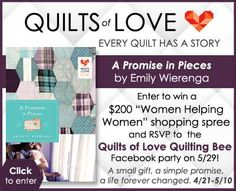 """A Promise in Pieces"" by Emily Wierenga is the newest book in the Quilts of Love series. Enter to win a $200 shopping spree for a chance to spruce up your summer wardrobe and support companies who exist to make a difference in the lives of women!"