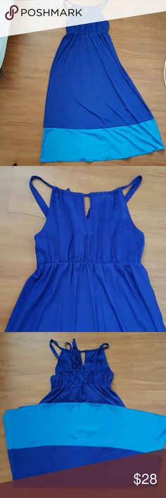 calvin klein maxi dress blue navy