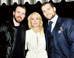 NEW PHOTOS! Henry Cavill with Chris Evans, and Miss Gillian Anderson at The Golden Globes Party at Chateau Marmon