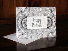 Birthday Zentangle Card With Mandala Accenting #14