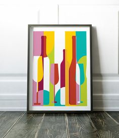 Colourful wall art. Modern abstract wine print.  Most of my prints are now available for you to print at home in my other shop here: www.etsy.com/uk/shop/NordicDesignHouseCo  MY PRINTS  Prints are produced on a professional Canon printer using Canon dye based inks and a 6 colour system to ensure vivid and rich coloured prints every time. Actual colours may vary slightly as each monitor displays colours differently.  Please note that frames are not included with the print, the image is for…