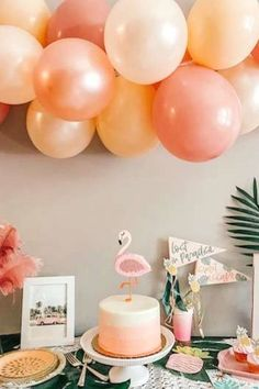 Take a look at this fabulous flamingo bachelorette party! The cake will blow you away! See more party ideas and share yours at CatchMyPartyy.com #catchmyparty #partyideas #flmaingos #flamingoparty #bachelorette