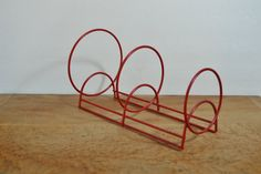Vintage Red Dish Rack // Red Coated Wire Shaped in by VintageDoe