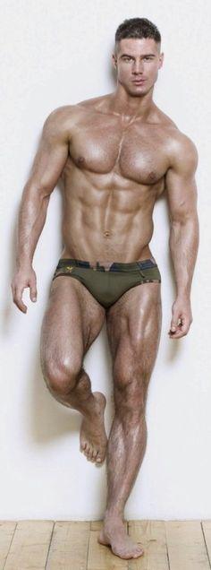 Beefy boy teasing in his panties
