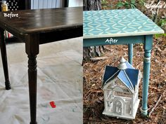 """I recently picked up this """"mini farm table"""" and thought I'd have a little fun with the paint job. It's difficult to see in the picture be..."""