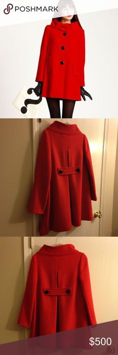 More pictures- Kate Spade Suzette Red Bow Coat - 8 NJMU2004 Wonderful condition. Size 8. Just in time for Spring! Please see my other listing for more pictures. kate spade Jackets & Coats Trench Coats